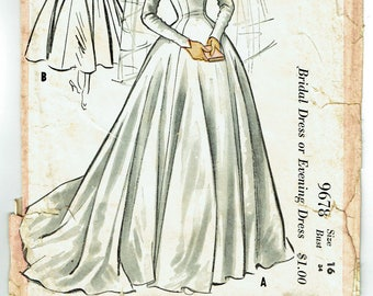 "ORIGINAL Vintage Sewing Pattern 1950's Ladies Evening or Wedding Gown McCall's 9678 Size 34"" Bust - Free Pattern Grading E-book Included"