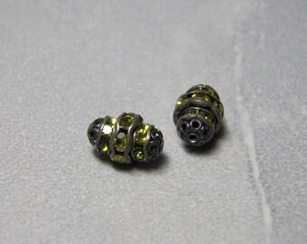 Vintage Black Saturn Beads set with Peridot Rhinestones  12x8mm (2)