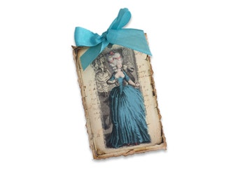 Marie Antoinette Tags, Paris Marie Tags, Paris Tags,  Marie Antoinette Theme, Fun Paris Tags, Peacock Blue Tags