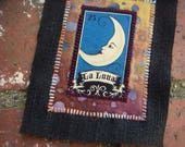 La LUNA Loteria patch / crescent moon magic upcycled sew on back patch, applique, badge