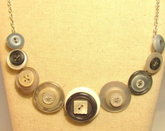 White & Grey Button Necklace
