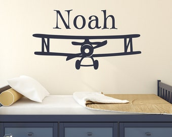 Kids Room Wall Decal, Personalized Airplane Wall Decal, Airplane Nursery Wall Sticker, Explorer Decor, Custom