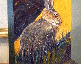 """Rabbit Art """"Cottontail"""" 8x10x1.5"""" and 11x14x1.5"""" Gallery Wrap Canvas Print"""