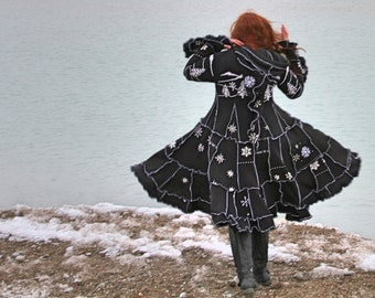 Snow Burn medium frankensweater snowflake embroidered bead upcycled gypsy coat sweater 147