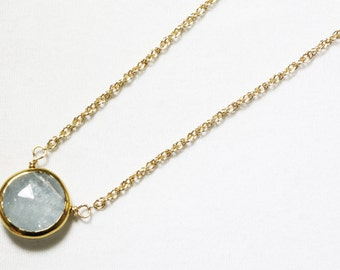Aquamarine Necklace Gold Bezel Necklace Genuine Aquamarine Necklace March Birthstone Semiprecious Aquamarine Necklace BZ-P-105-Aqua/g