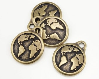 Earth Charms Brass Charms Tierra Cast Antique Brass Oxide Bronze Charms World Charm Planet Earth with Continents for Earth Day (P1252)