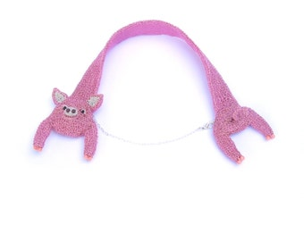 Pig necklace - cute animal statement necklace, head and tail necklace, pig jewelry