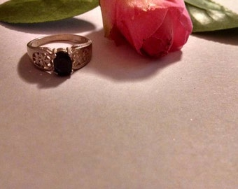 Clearance Sale Black Sapphire or Spinel Sterling Silver Size 7 Ring Handset Real Gemstone Beautiful Gift Idea Affordable For Her