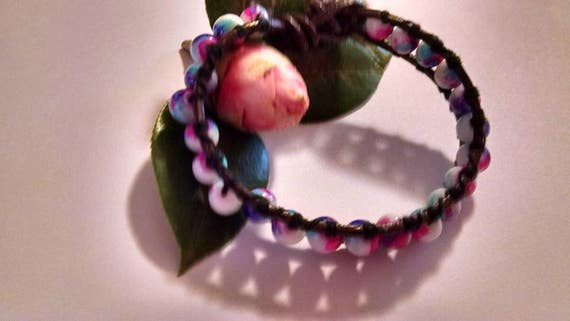 Single Wrap Leather Cuff Bracelet with Multicolor Blue Purple Pink White Beads Boho Chic Shabby Mom Daughter Sister Friend Wedding Birthday