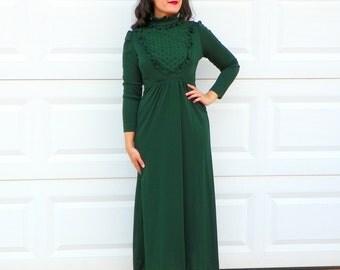 1970s Vintage Emerald Green Prairie Dress Dark Green Maxi Dress Ruffle Bib Long Sleeves TIe Waist Emerald Maxi Dress Size Small