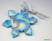 Snowflake Christmas Ornament in Silver and Turquoise Fimo Filigree