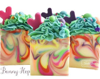 Soap-Bunny Hop Artisan Vegan Soap, handmade soap, cold process soap, vegan soap, easter, bunny