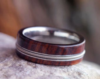 Man Wood Wedding Band, Guitar Ring, Titanium Ring Inlaid With A Guitar String And Bolivian Rosewood, Guitar Jewelry