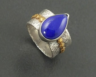 ON SALE---Lapis Mixed Metal Ring, sterling silver, brass, boho, bohemian, size 8 ring, blue stone ring, blue lapis ring, silver gold blue