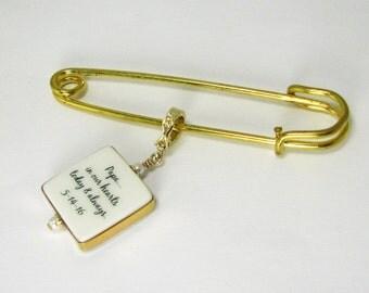 Gold-filled Photo Memorial  Boutonniere / Corsage Charm, Large - FBP3Fl-GF