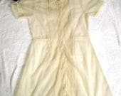 90s 1990s Completely SHEER Cream Nylon Dress / Pintuck Dress / Pintucked Sheer Waitress Dress