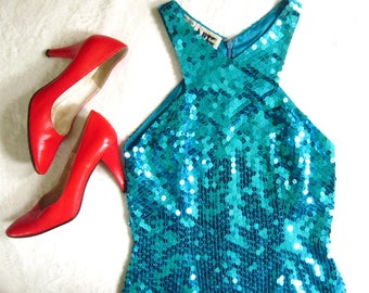 1980s 80s VTG Sparkling TURQUOISE Sequined Sequin BodyCon Mini Party Dress XS 4