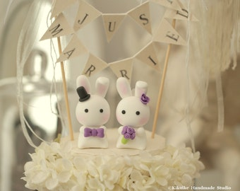 bunny  Wedding Cake Topper-love rabbits and bunny---k919