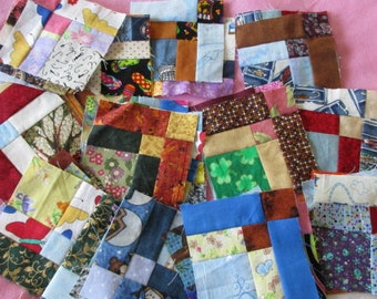 Set of 50 Quilt blocks, made with scraps 4-1/2 x 4-1/2 inches
