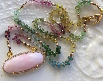 Pink Peruvian Opal Silk Necklace Hand Knotted Silk Tourmaline Necklace Pink Opal Bezel Necklace Boho Necklace