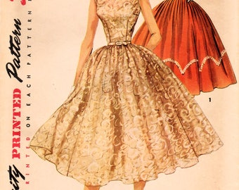 1950s Simplicity 1158 Vintage Sewing Pattern Misses Party Dress, Prom Dress, Formal Dress, Full Skirt Dress Size 14 Bust 32