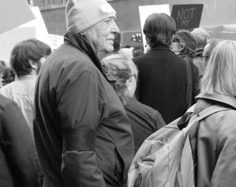 Pink hat, #womensmarch, New York, #whyImarch, B&W Photograph, fine art, photo print, photography, wall art, home decor, protest, resist