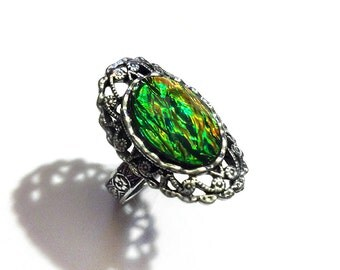 Multicolor Black Faux Opal Ring - Opal Jewelry - Black Opal - Gothic Ring - Victorian Ring - Cocktail Ring - Opalescent - Fire Opal