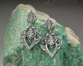 Forest queen - sculpted silver earrings with oak leaves and acorns, woodland, silver acorn, art nouveau, elven earrings, limited collection