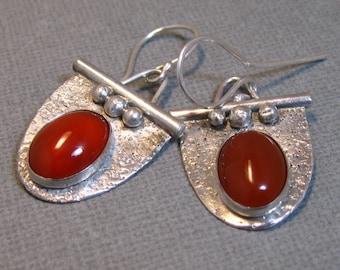 Sterling Silver and Carnelian Drop Earrings, Artisan Handcrafted Sterling Silver Earrings by Liz Blanchflower