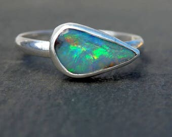 Boulder opal ring / October birthstone / opal ring / opal jewelry / Australian opal ring / boulder opal jewelry / ready to ship / size 6