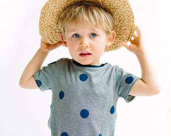 Blue spots on striped kids T-shirt