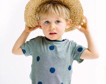 Blue spots on striped kids T-shirt