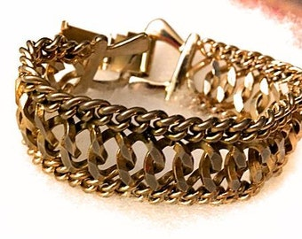 Vintage Triple Link Chain Bracelet . 50s 60s Gold Tone Wide Bracelet . 1950s 1960s Costume Jewelry Mid Century