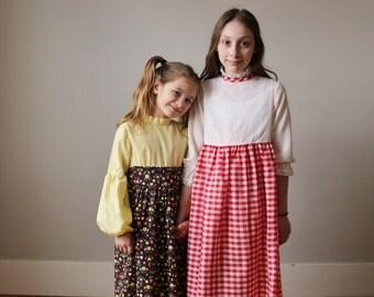 1970s Picnic Check Maxi Dress >>> Size 7/8