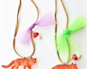 Kids Jewelry. Kids Fox. Woodland Necklace. Girls Necklace. Fox Necklace. Toadstool Necklace. Girls Jewelry. Gift for naturelover