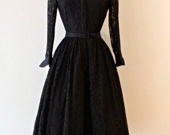 Vintage 1950's Illusion Lace Cocktail Dress ~ Vintage 50's Black Lace Party Dress Full Skirt