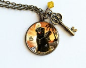 Black Cat Necklace // Pirate Cat Art // Shiver Meow Timbers Round Cameo Necklace - Silver OR Antiqued Bronze