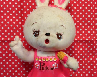 Vintage Japan IWAI Rare Pinky Bunny Squeeze Toy Baby Big Eyed Doll