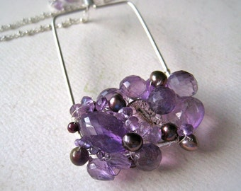 pansy gemstone cluster necklace - amethyst cluster necklace, wire wrapped, geometric, ooak pendant, handmade jewelry