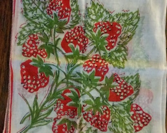 Vintage Hankie, Strawberry print, red, green, handkerchief, mid century