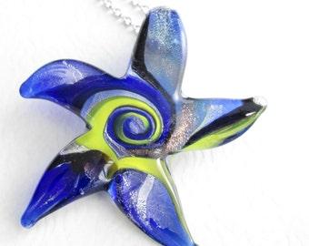 Glass Starfish Necklace, Cobalt Blue Ocean Jewelry, Sea Theme Pendant