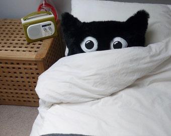 Cat cushion. Faux fur cat cushion. Black cat fur pillow. Cat face pillow.