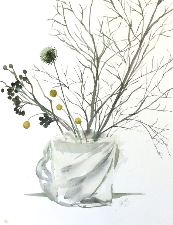 Winter Arrangement Floral - original watercolor painting