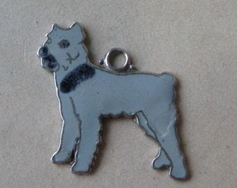 Grey Dog Puppy Charm Sterling Enamel Cloisonné Vintage 925 Silver