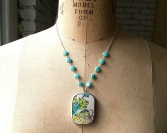 Asian Pottery Pendant, Floral Necklace, Turquoise Blue, Spring Fashion