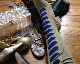 Vintage 1970's beige taupe suede boots 7 B Boho Hippie