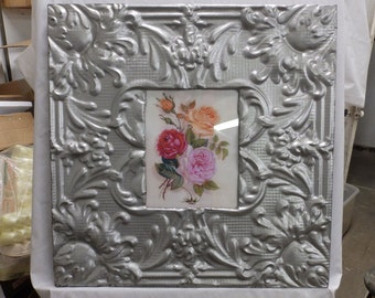 TIN CEILING Silver Metal Picture Frame 8x10 Shabby Recycled chic 440-16