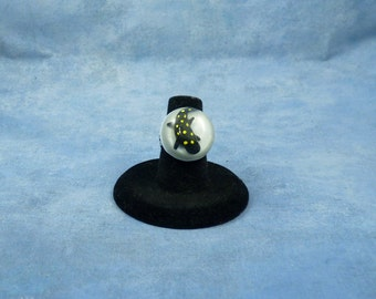 Encapsulated Spotted Salamander Specimen ring, Handmade Biology Jewelry