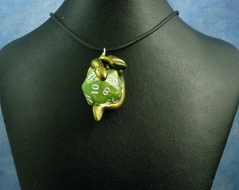 Gold and Olive Green Dicekeeper Dragon Necklace - D20 Pendant