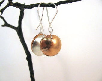 Sterling Silver and Copper Disk Earrings RKS524